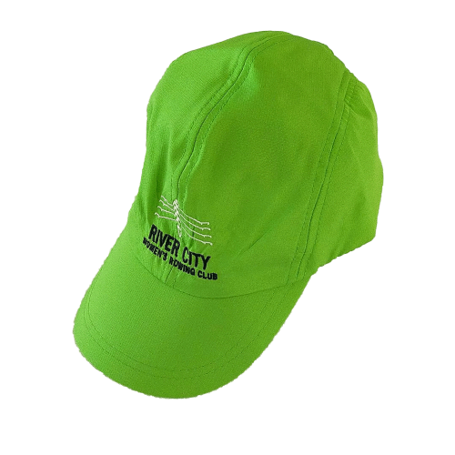 green cap with river city women's rowing club embroidery
