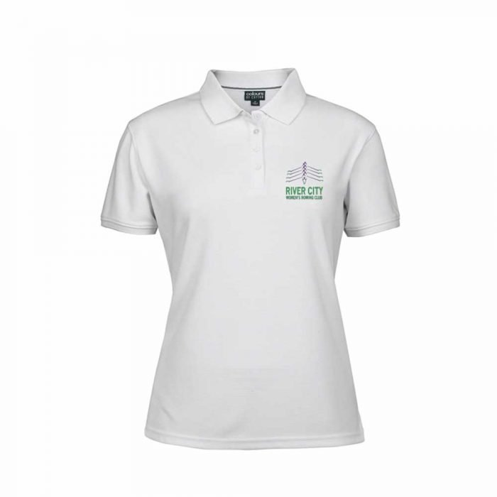 river city women's rowing club white polo shirt front view